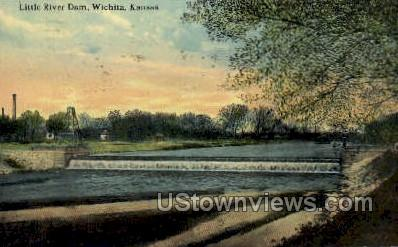 Little River Dam - Wichita, Kansas KS Postcard
