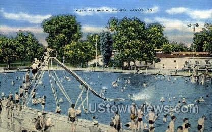 Municipal Beach - Wichita, Kansas KS Postcard