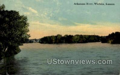 Arkansas River - Wichita Postcard