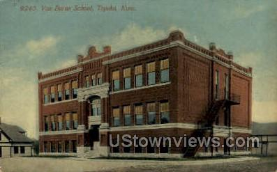 Van Buran School - Topeka, Kansas KS Postcard