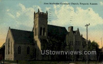First Methodist Church - Emporia, Kansas KS Postcard