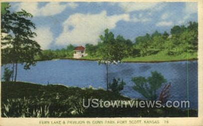 Fern Lake - Fort Scott, Kansas KS Postcard