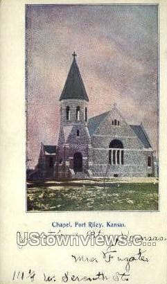 Chapel - Fort Riley, Kansas KS Postcard