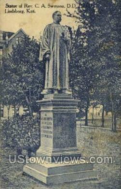 Statue - Lindsborg, Kansas KS Postcard