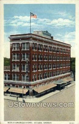 North American Hotel - Ottawa, Kansas KS Postcard