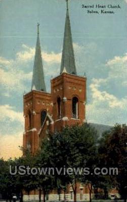 Sacred Heart Church - Salina, Kansas KS Postcard