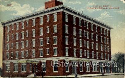 Hotel Booth - Independence, Kansas KS Postcard