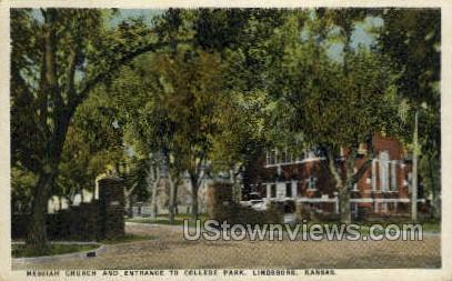 Messiah Church - Lindsborg, Kansas KS Postcard