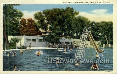 Municipal Swimming Pool - Dodge City, Kansas KS Postcard