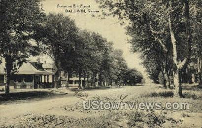 8th Street - Baldwin, Kansas KS Postcard