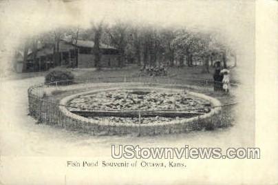 Fish Pond - Ottawa, Kansas KS Postcard
