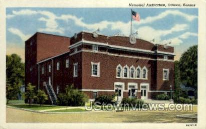 Memorial Aud - Ottawa, Kansas KS Postcard