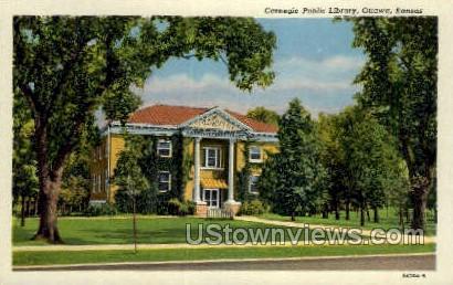 Carnegie Library - Ottawa, Kansas KS Postcard