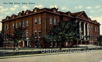 New High School - Salina, Kansas KS Postcard