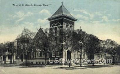 First Methodist Church - Ottawa, Kansas KS Postcard