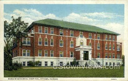 Ransom Memorial Hospital - Ottawa, Kansas KS Postcard