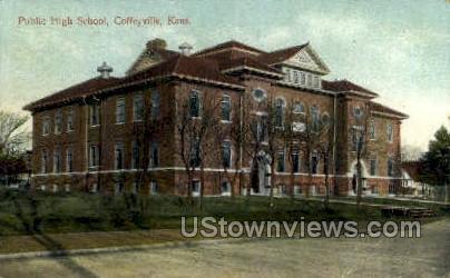 Public High School - Coffeyville, Kansas KS Postcard