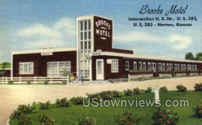Brooks Motel - Norton, Kansas KS Postcard