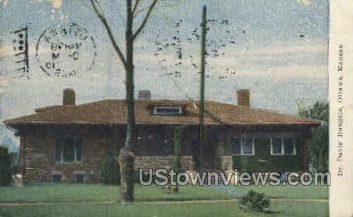 Dr Davis' Bungalow - Ottawa, Kansas KS Postcard