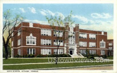 High School - Ottawa, Kansas KS Postcard