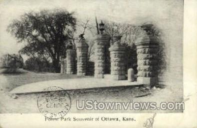 Forest Park - Ottawa, Kansas KS Postcard
