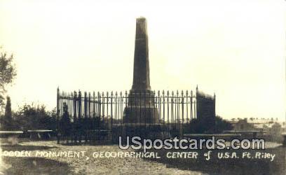 Real Photo - Ogden Monument - Fort Riley, Kansas KS Postcard