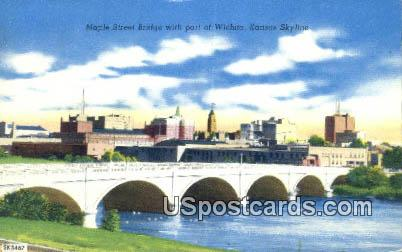 Maple Street Bridge - Wichita, Kansas KS Postcard