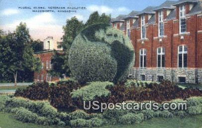 Floral Globe, Veterans Facilities - Wadsworth, Kansas KS Postcard