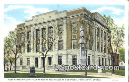 New Bourbon County Court House - Fort Scott, Kansas KS Postcard