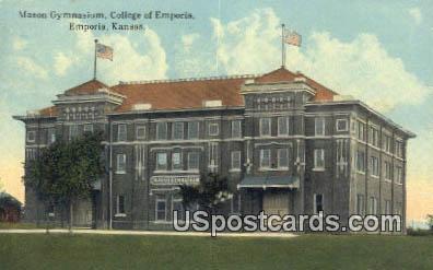 Mason Gymnasium, College of Emporia - Kansas KS Postcard