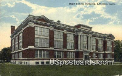 High School Building - Emporia, Kansas KS Postcard