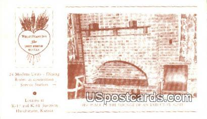 Fire Place, Wheat Heart Inn - Hutchinson, Kansas KS Postcard