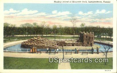 Monkey Island, Riverside Park - Independence, Kansas KS Postcard