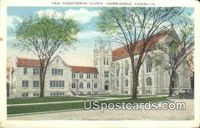 First Presbyterian Church - Independence, Kansas KS Postcard