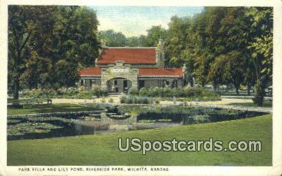 Park Villa & Lilly Pond, Riverside Park - Wichita, Kansas KS Postcard