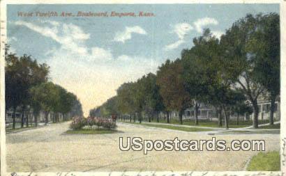 West Twelfth Avenue - Emporia, Kansas KS Postcard