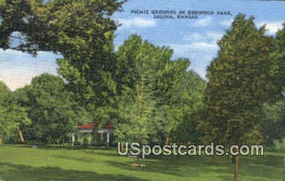 Picnic Grounds, Kenwood Park - Salina, Kansas KS Postcard