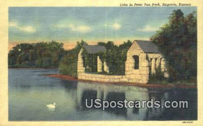 Lake, Peter Pan Park - Emporia, Kansas KS Postcard