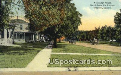 Exchange Street - Emporia, Kansas KS Postcard