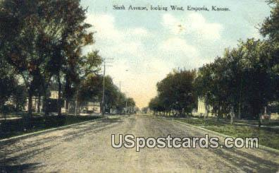 Sixth Avenue - Emporia, Kansas KS Postcard