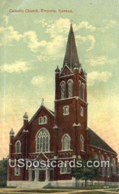Catholic Church - Emporia, Kansas KS Postcard
