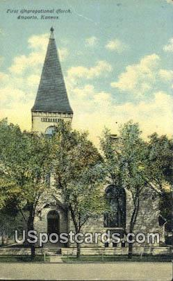 First Congregational Church - Emporia, Kansas KS Postcard