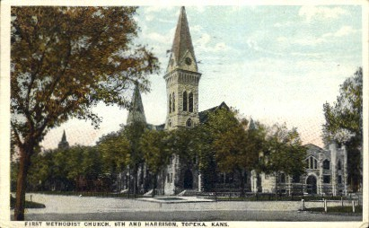 1st Methodist Church - Topeka, Kansas KS Postcard