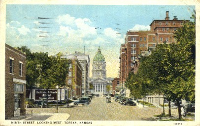 9th Street West - Topeka, Kansas KS Postcard