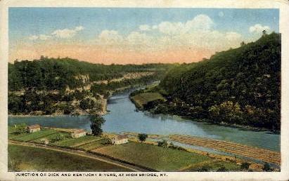 Junction of Dick and KY Rivers - High Bridge, Kentucky KY Postcard