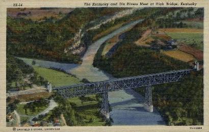 KY and Dix Rivers Meet at High Bridge - Kentucky KY Postcard