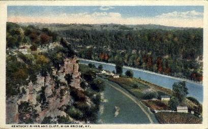 KY River and Cliff - High Bridge, Kentucky KY Postcard