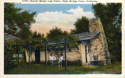 Daniel Boone Log Cabin - High Bridge, Kentucky KY Postcard