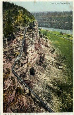 Cliff Stairway - High Bridge, Kentucky KY Postcard