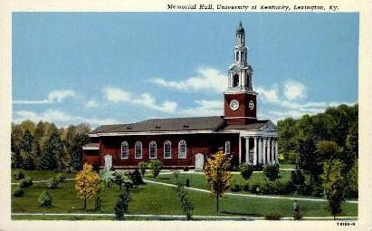 Memorial Hall, University of KY - Lexington, Kentucky KY Postcard